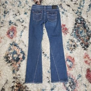 True Religion Becca Mid Rise Bootcut Flare Jeans Pink Y2K Western 2000s